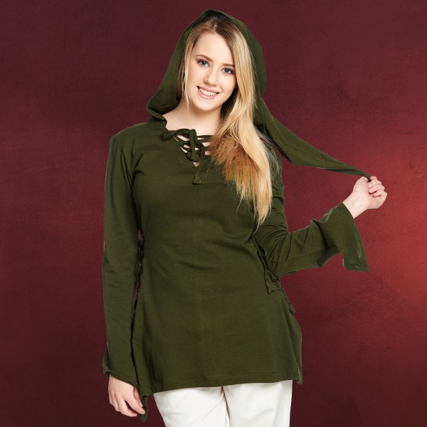 Mittelalter Bluse Lea mit Kapuze grün