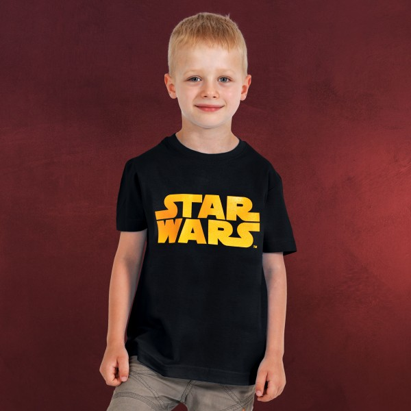 Star Wars - Orange Logo Kinder Shirt schwarz