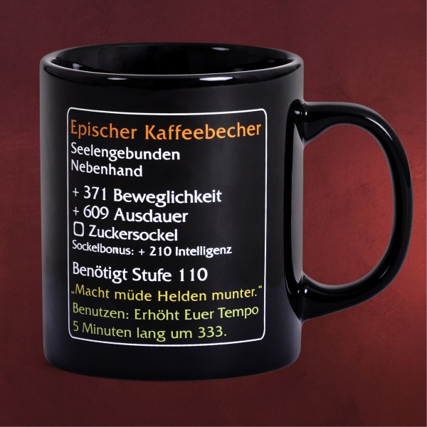 Epischer Kaffeebecher - MMO Item Fan Tasse Level 110