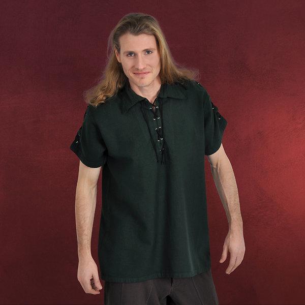 Mittelalterhemd Kurzarm mit Schnürung grün