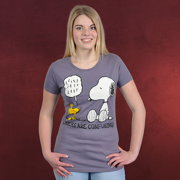 Peanuts - Chicks Are Confusing Girlie Shirt lavendel