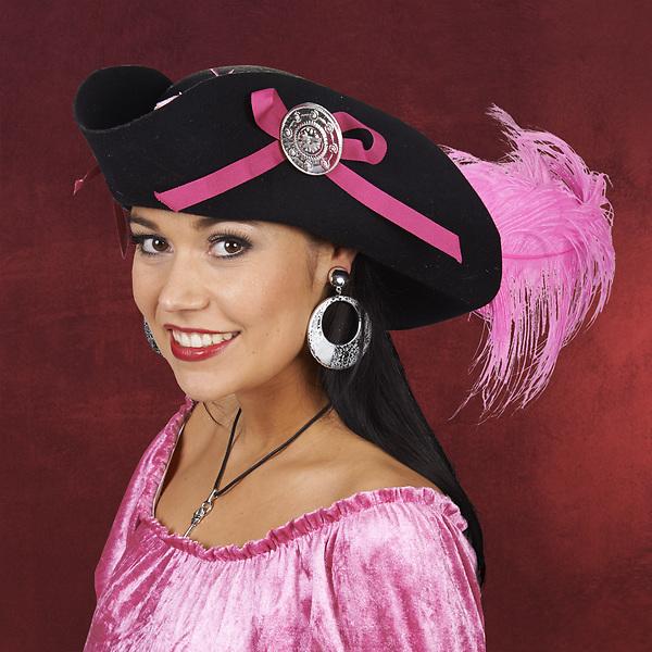 Piraten Lady Hut schwarz-pink