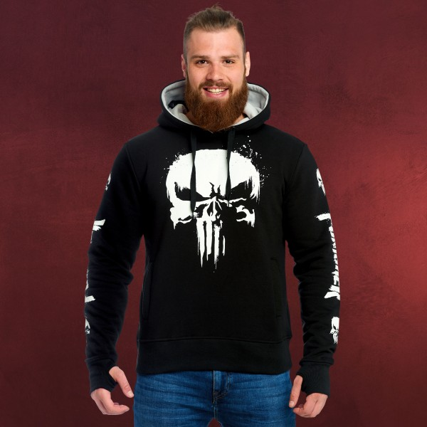 Punisher - Distressed Skull Logo Hoodie schwarz