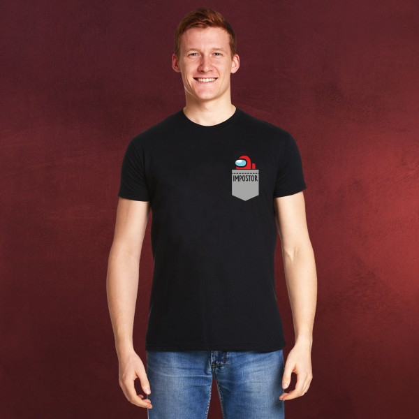 Impostor Pocket T-Shirt für Among Us Fans schwarz