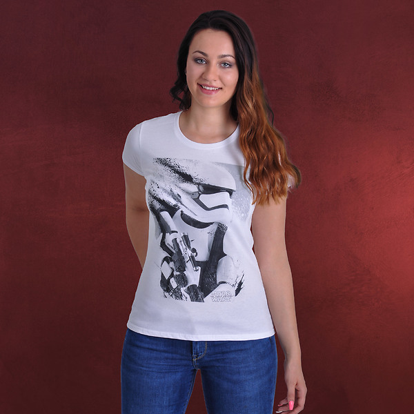 Star Wars - Stormtrooper Splatter Girlie Shirt weiß
