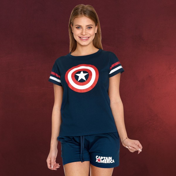 Captain America - Shield Logo Pyjama kurz Damen