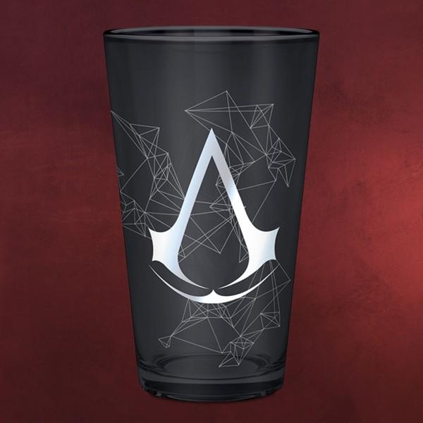 Assassins Creed - Logo & Assassin Glas schwarz