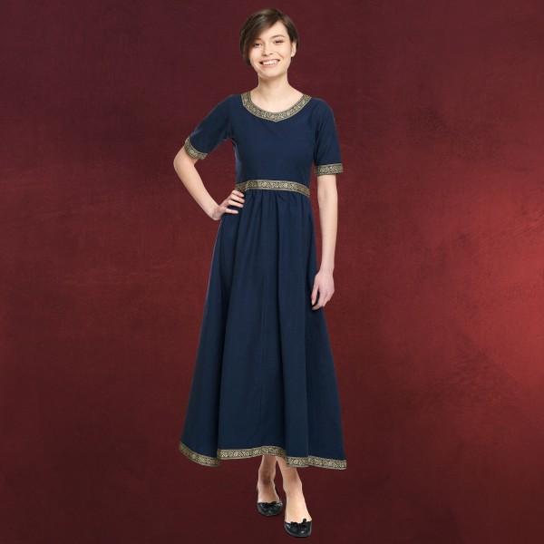 Mittelalter Kleid Ennlin mit Kurzarm blau