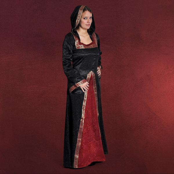 Mittelalter Kleid Otilia mit Zipfelkapuze schwarz-bordeaux
