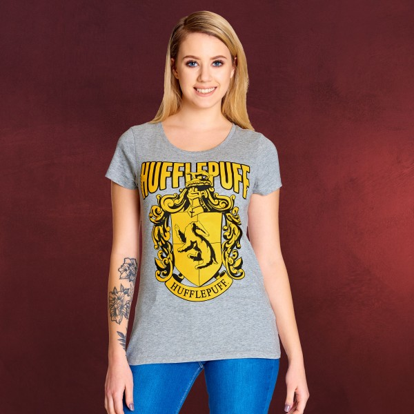 Harry Potter - Hufflepuff Wappen T-Shirt Damen grau