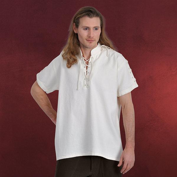Mittelalterhemd Kurzarm mit Stehkragen natur
