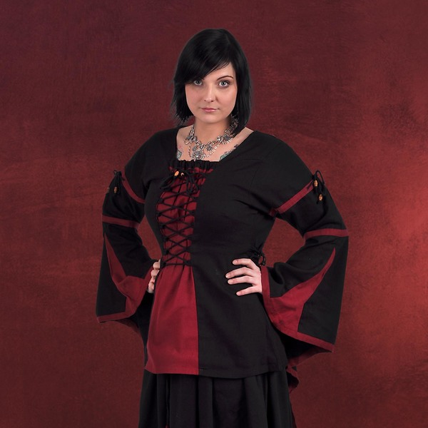 Mittelalter Bluse im Leinen Look schwarz-rot