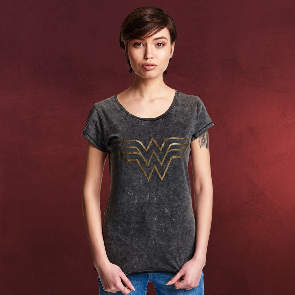 Wonder Woman - Logo T-Shirt Damen grau