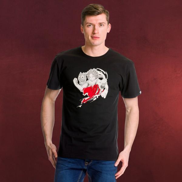 Fairy Tail - Natsu und Happy T-Shirt schwarz