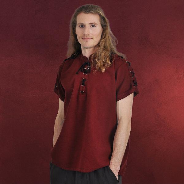 Mittelalterhemd Kurzarm mit Stehkragen rot