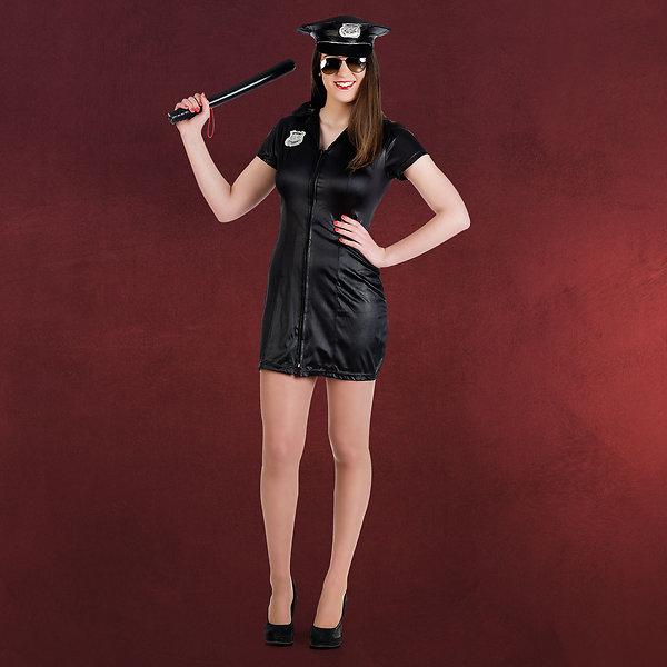 Polizistin Kostüm Kleid schwarz