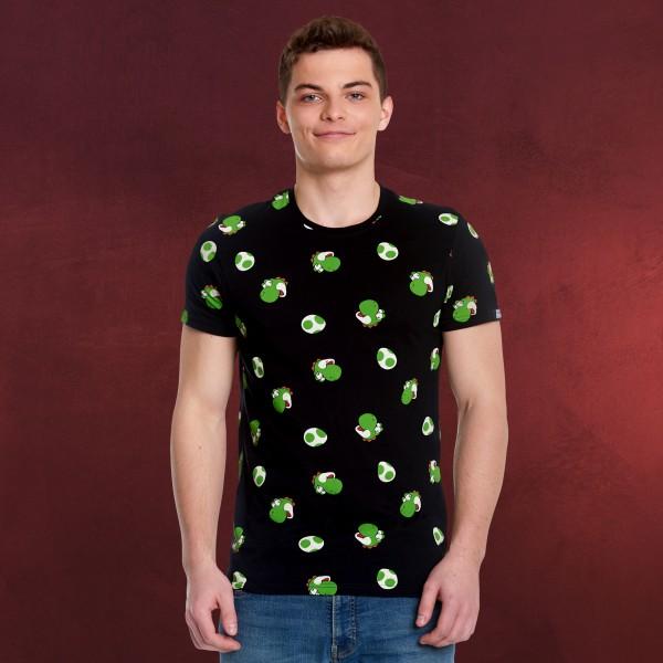 Super Mario - Yoshi & Eggs T-Shirt schwarz