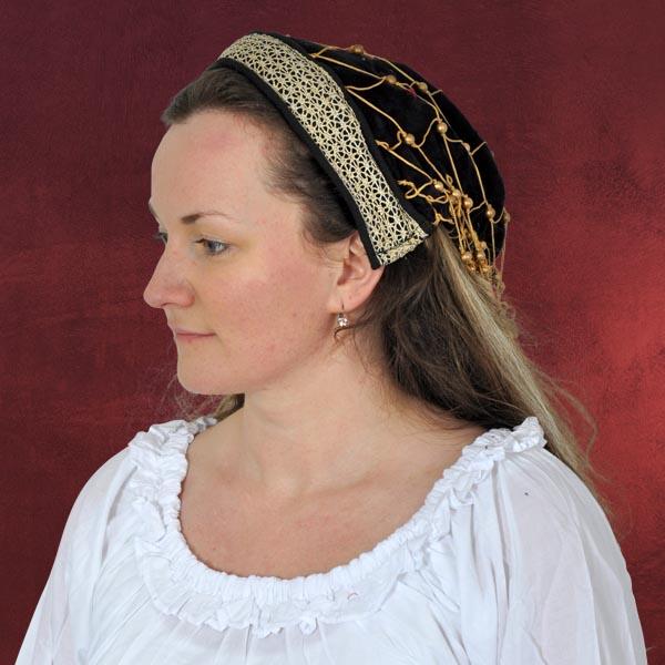 Mittelalterliche Haube mit Bordüre - schwarz