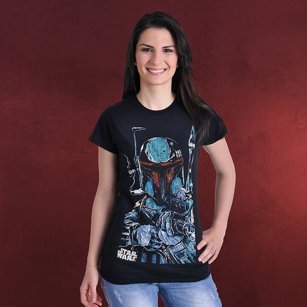 Star Wars - Boba Fett Vintage Girlie Shirt schwarz
