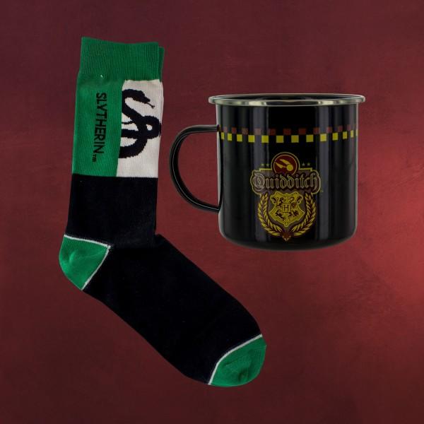 Harry Potter - Slytherin Quidditch Socken und Emaille Tasse