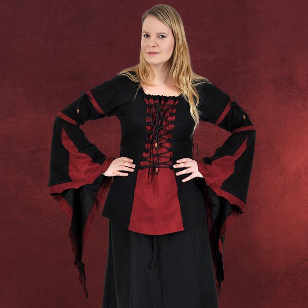 Mittelalter Bluse mit Schnürung schwarz-rot