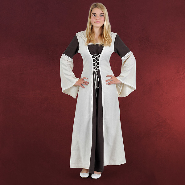Mittelalter Kleid Falconia braun-natur