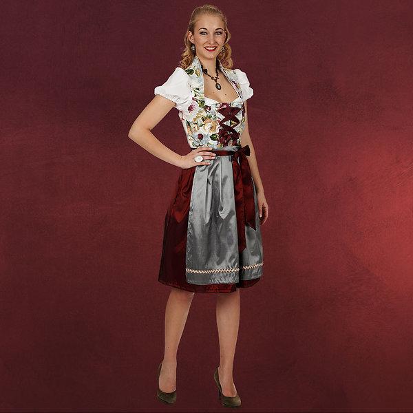 Blumen Dirndl - Kostüm Damen rot grau