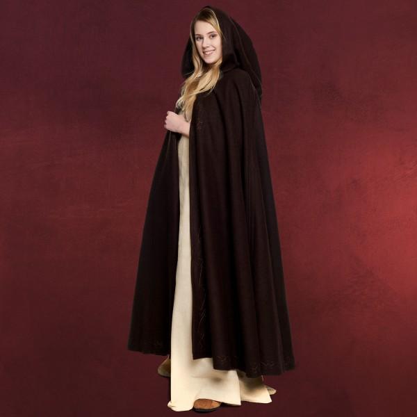 Mittelalter Woll Umhang Damen mit Kapuze Stickerei Metallschließe braun