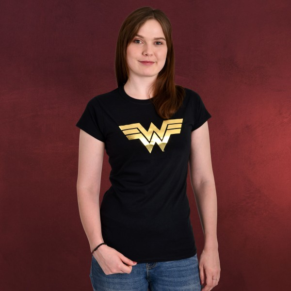 Wonder Woman - Golden Logo T-Shirt Damen schwarz