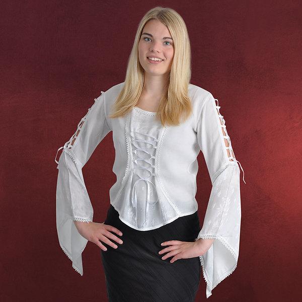 Mittelalter Bluse mit Frontschnürung weiß