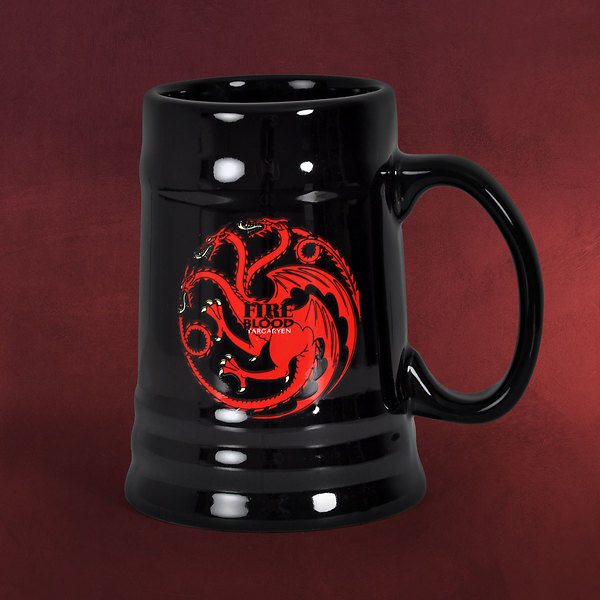 game of thrones house targaryen krug schwarz elbenwald. Black Bedroom Furniture Sets. Home Design Ideas