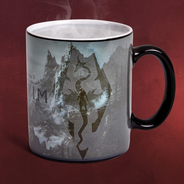 Skyrim - Dragon Logo Thermoeffekt Tasse