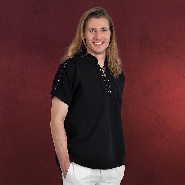 Mittelalterhemd Kurzarm mit Stehkragen schwarz