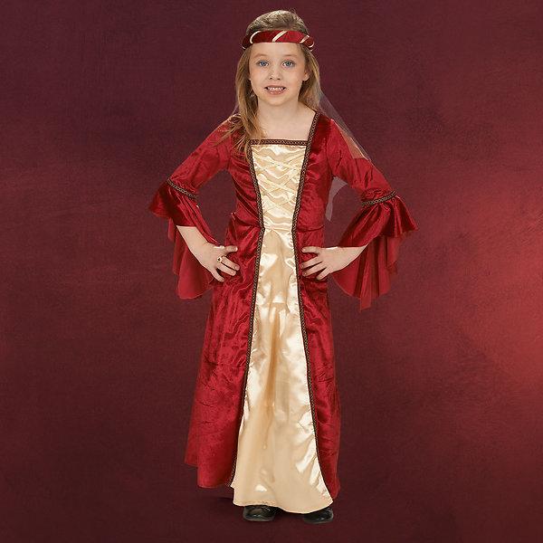 Burgfräulein Kleid mit Stirnband Kinder Kostüm rot
