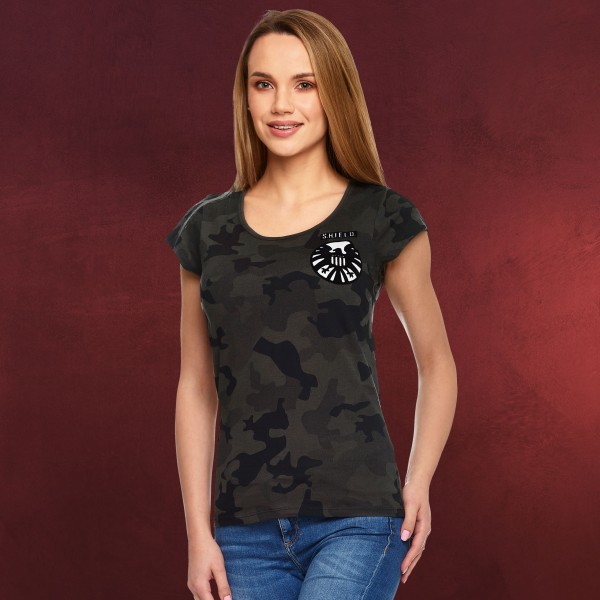 Captain Marvel - S.H.I.E.L.D. Logo Military T-Shirt Damen