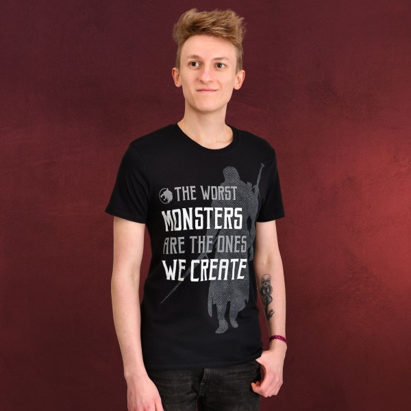 Monsters We Create T-Shirt für Witcher Fans schwarz