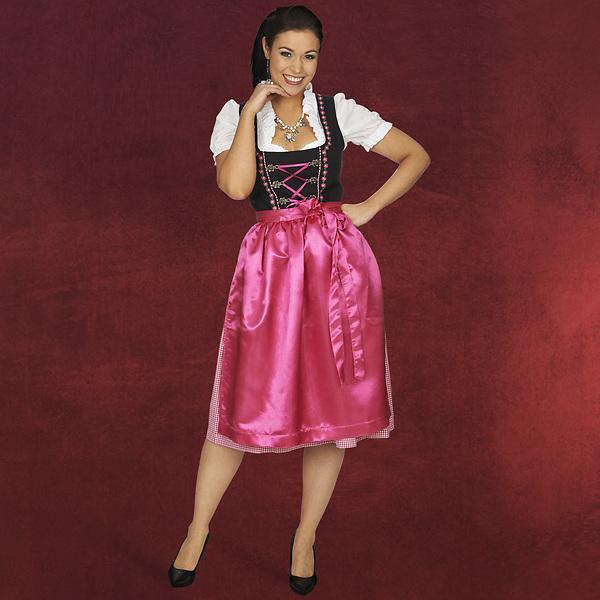 Dirndl schwarz pink - Trachtenkleid mit Stickerei und Schnürung