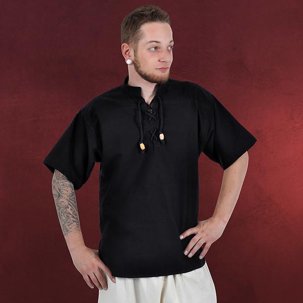 Mittelalter Hemd Kurzarm schwarz