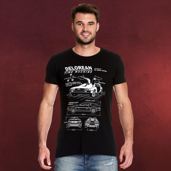 Zurück in die Zukunft - DeLorean T-Shirt schwarz