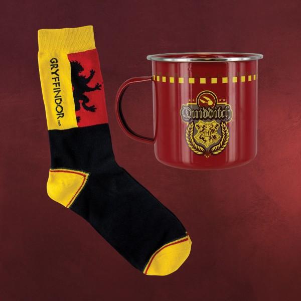 Harry Potter - Gryffindor Quidditch Socken und Emaille Tasse