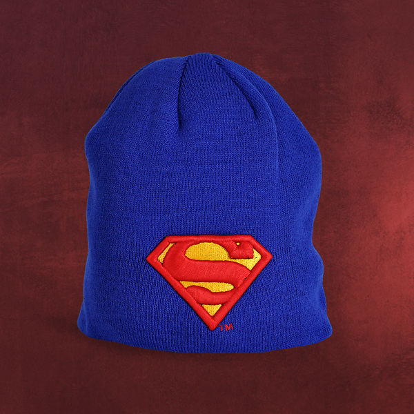 Superman - Logo Strick Mütze blau