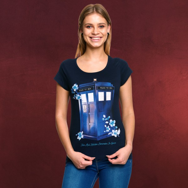 Doctor Who - Floral Tardis T-Shirt Damen blau