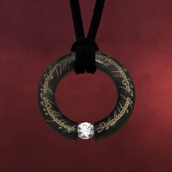 Herr der Ringe - Der Eine Ring Anhänger Edelstahl schwarz mit Kristall