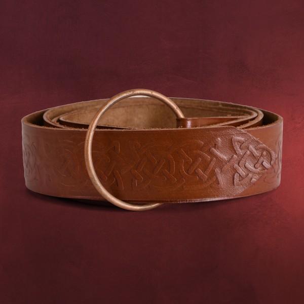 Mittelalter Ringgürtel mit keltischer Prägung braun