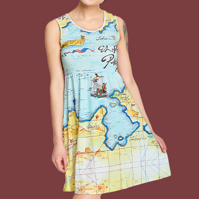 One Piece - East Blue Map Minikleid
