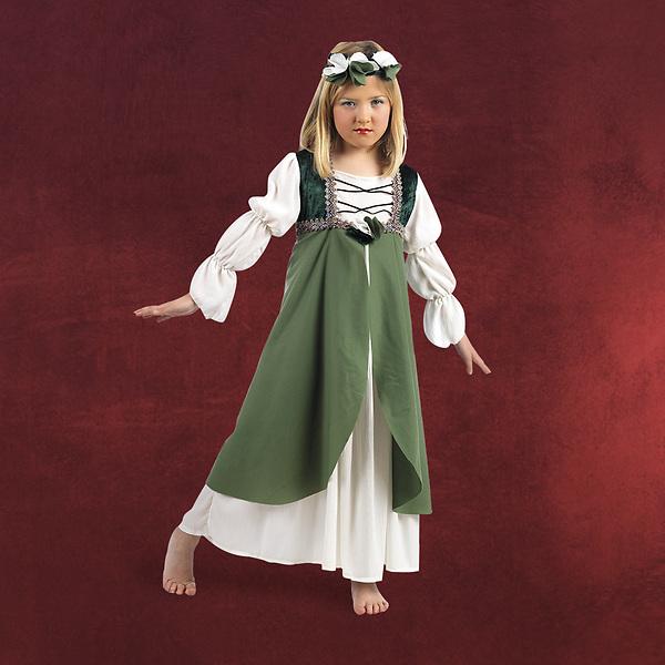 Mittelalterliche Brautjungfer Kinderkostüm grün