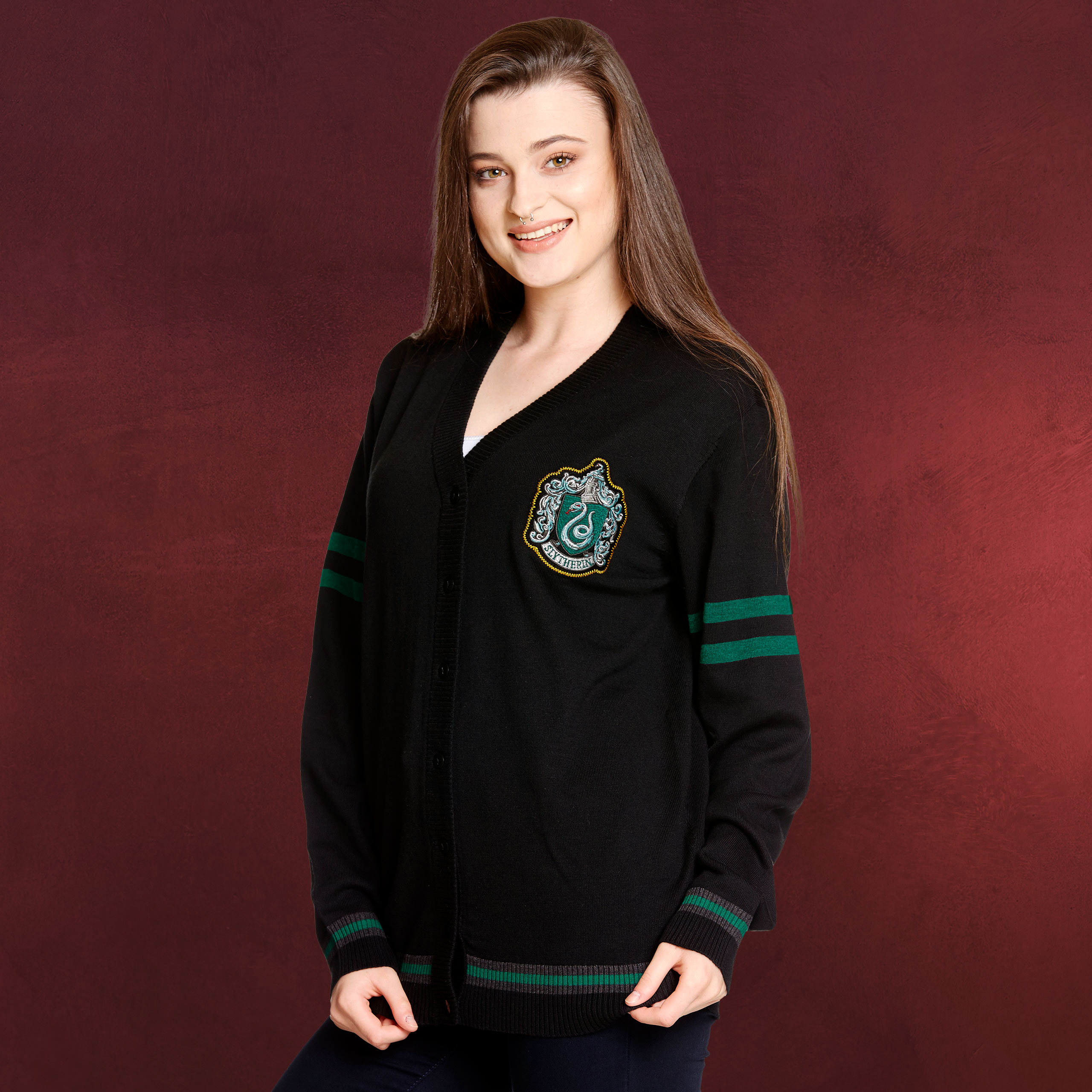 harry potter slytherin cardigan mit wappen elbenwald. Black Bedroom Furniture Sets. Home Design Ideas