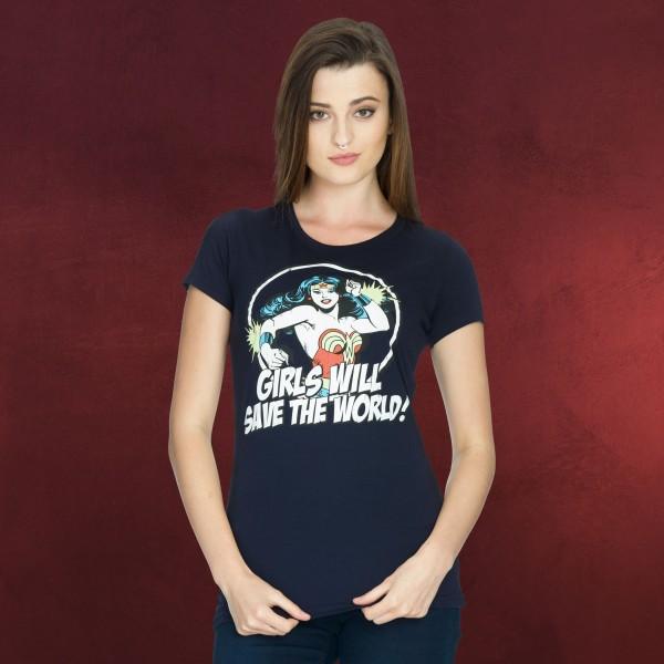 Wonder Woman - Girls Will Save The World Girlie Shirt blau