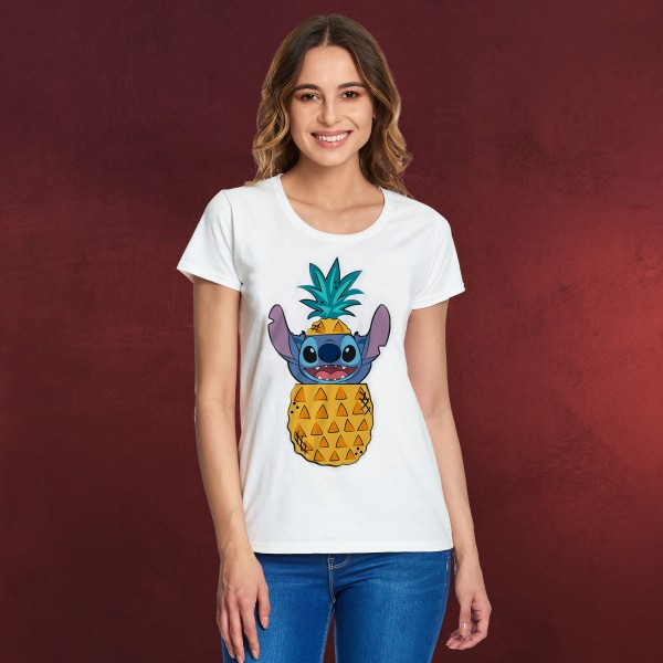 Lilo & Stitch - Pineapple Stitch T-Shirt Damen weiß