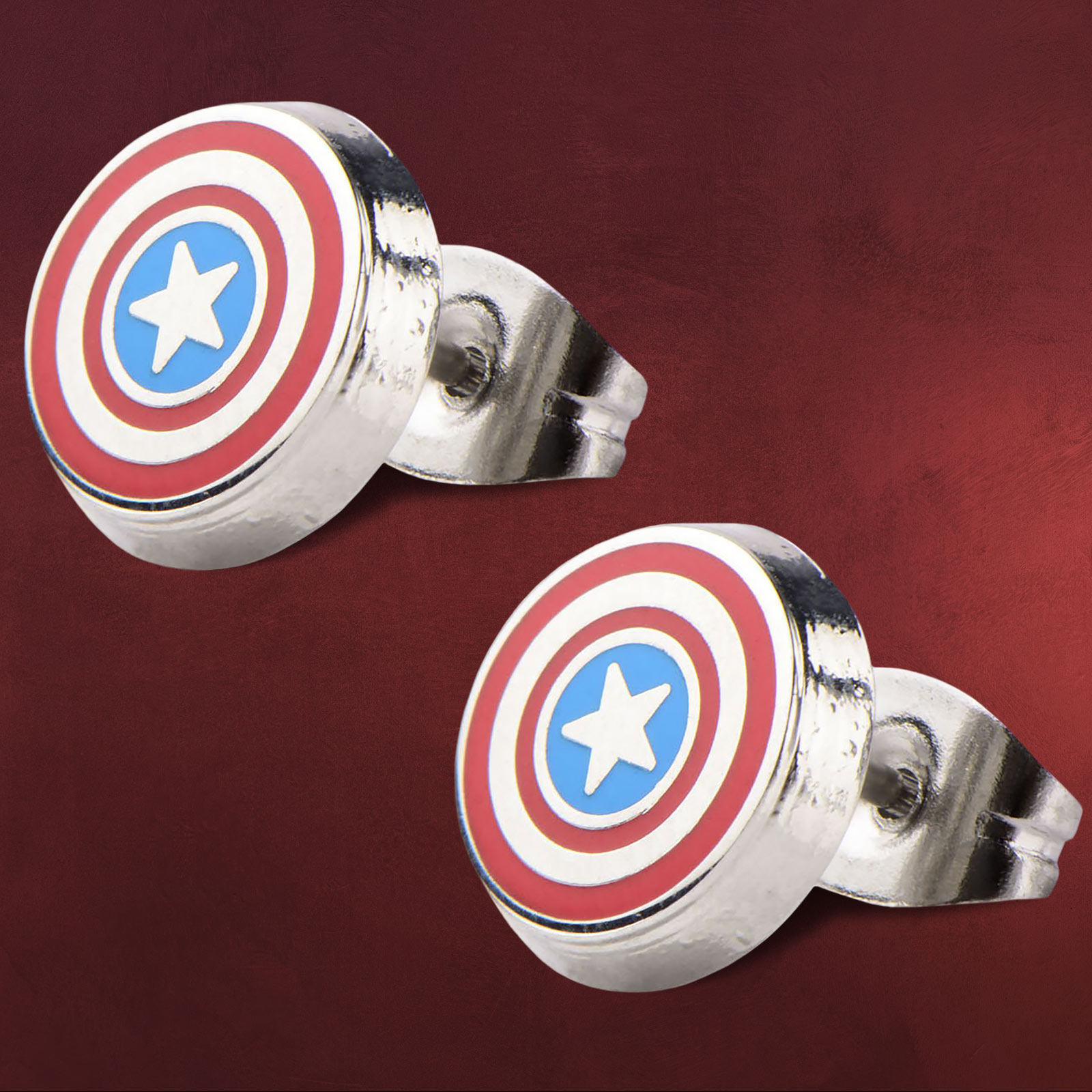 captain america logo shield ohrstecker elbenwald